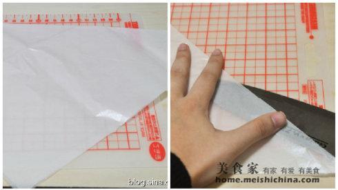 蛋糕 裱花袋/1 30cmX30cm的正方形裱花袋对折,2 裁开成两张
