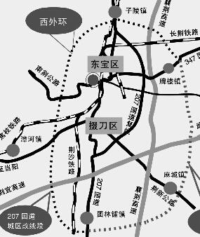 东外环起于东宝区子陵铺镇安栈口,止于掇刀区团林铺镇合星村,全长44公