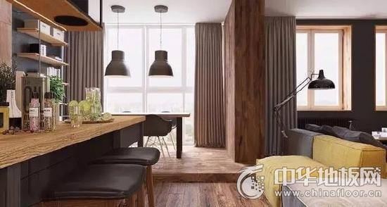 深棕色时尚木地板 享受炫酷感